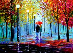 Rainy night out. Original oil painting by Inna Montano