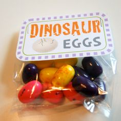 Dinosaur Eggs Birthday Treat Bag Tags (15). $5.00, via Etsy.