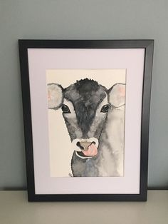 Materials: high quality makeup water colors on watercolor paper 140 lbs g / square meter). Etsy, Vintage, Frame, Home Decor, Cow, Watercolor Painting, Craft Gifts, Schmuck, Ideas