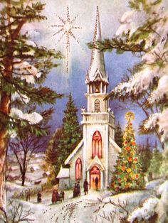 Vintage Christmas Card UNUSED People Going to Church Park Shining Star Night Sky