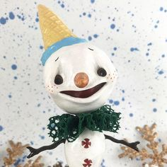 This ooak - snowman Oli figurine is ready to ship!  Creation is handmade of sculpted. This is a one of a kind handmade artist creation and it requires careful handling. As a handmade work it may have some imperfections.  This snowman Oli measures approximately 21 cm (8.4) tall x 9 cm (3.6) wide   If youd like to learn more about my work, please visit https://www.instagram.com/mo._creatures/