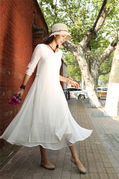 White Layered Cotton Linen Dress  Loose-fitting Long Sleeved