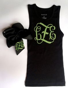 Glitter Monogram Tank Top and Monogrammed Boutique Hair Bow Monogrammed Gift Set by PoshPrincessBows1, $32.99