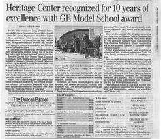 Article in The Duncan Banner, 10 years Great Expectations Model School award. October 2016