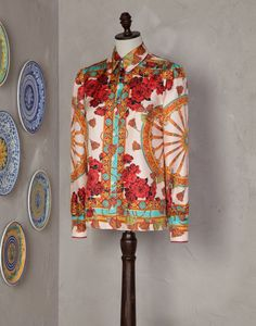 WHEEL- AND ROSE-PRINT SHIRT - Long sleeve shirts - Dolce&Gabbana - Summer 2014