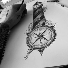 Edward miller on instagram lighthouse compass for my client lighthouse tattoo traditional compass edwardmiller original