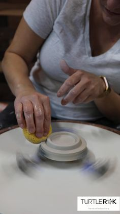 Here's a quick look at out how I make lids to fit my mugs. I throw both the mug and the lid at the same time and allow them to dry to leather hard before trimming is done. Thrown Pottery, Pottery Mugs, Ceramic Pottery, Pottery Art, Ceramic Art, Slab Pottery, Ceramic Bowls, Pottery Wheel, Pottery Bowls