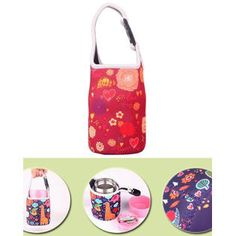 Blancho Lovely Baby Bottle Tote Bag Food Jar Tote Bag Insulated Lunch Box Bag Heart  alternate image