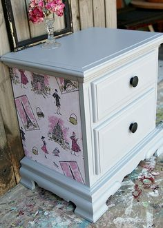 Decoupage furniture project. Gray Primer for paint.