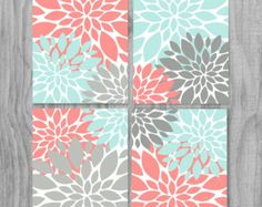 Coral Turquoise Gray Art Print Set Modern by PrintsbyChristine