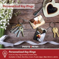 Product idea: Create your own personalised key rings and take your loved ones with you wherever you go. Personalised Keyrings, Key Rings, Photo Book, Are You The One, Create Your Own, Purple, Red, Prints, Key Fobs