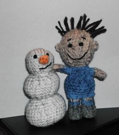 Handmade Crocheted Amigurumi Peanuts Pigpen and his Snowman Messy  by The Knitting Gnome.. Cute by TheKnittingGnomeVT on Etsy
