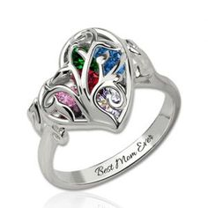 Personalized Heart Mother's Rings With Birthstones Platinum Plated