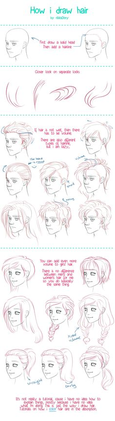 How I Draw Hair by =ribkaDory on deviantART