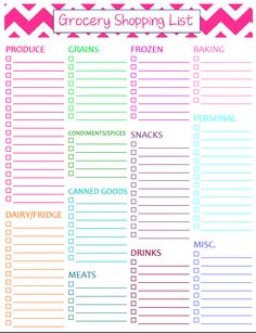 Photo gallery of the free printable grocery shopping list template.