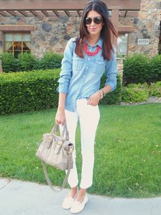Chambray top, white jeans