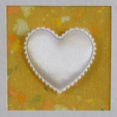 I Love You Card, blank, wedding, engagement, anniversary, birthday, white heart on yellow, contemporary, modern, with envelope, no message - pinned by pin4etsy.com