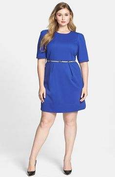 Free shipping and returns on Donna Ricco Ottoman Belted Sheath Dress (Plus Size) at Nordstrom.com. Ottoman stitching stripes subtle texture into a tailored elbow-sleeve dress that paints a flattering fit-and-flare silhouette great for work or after hours. A slim snakeskin-print belt polishes the attractive style.
