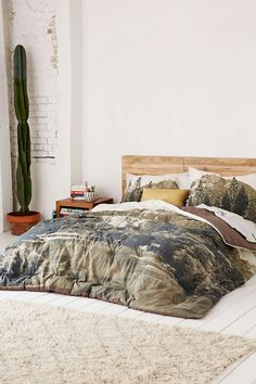 Urban Outfitters catalog bed on floor