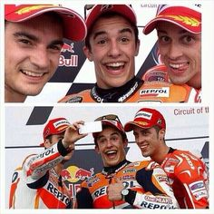 Dani Pedrosa, Marc Marquez and Andrea Dovizioso on the podium at Austin - wins for Marquez do far this 2014 season Marc Marquez, Gp Formula, Grand Prix, Circuit, Racing, Motorcycle, Selfie, Samurai, Board