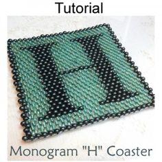 6/0 Seed Bead Coaster Monogram H PDF Beading Pattern