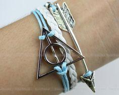 jewelry bracelet deathly hallows bracelet silver by itouchsoul, $4.99