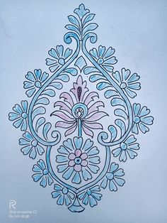 Floral Embroidery Patterns, Indian Embroidery, Embroidery Art, Flower Patterns, Embroidery Stitches, Embroidery Designs, Paisley Pattern, Pattern Art, Paint Designs