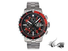 Fortis Marinemaster Chronograph Automatic Watch, ETA 7750, Black-red