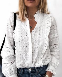 Solid Hollow Out Frills Detail Casual Shirt - Solid Hollow Out Frills Detail Casual Shirt Women's Trendy Clothes Online. Extra Off For Firs - Style Désinvolte Chic, Style Casual, Mode Style, Casual Chic, Casual Styles, Trendy Outfits, Fashion Outfits, Womens Fashion, Fashion Trends