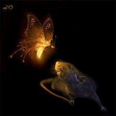 Mouse with lightning butterfly