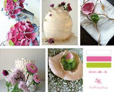 Matrimonio  allestimenti: bouquet centrotavola segnaposto colori verde e rosa- Green wedding paper
