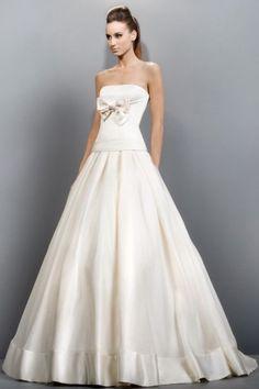 NANA - A-line Empier waist Cheap Court train Satin Strapless Wedding dress