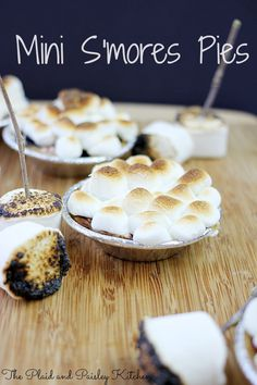 Mini S'mores Pies - no need to sit around a campfire to enjoy this yummy crunchy, chocolatey, melty, gooey marshmallow treat!