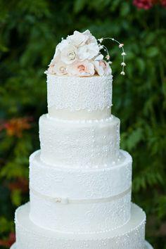 Lace Wedding Cake - On http://www.StyleMePretty.com/destination-weddings/italy-weddings/2014/04/03/american-scottish-destination-wedding-in-tuscany/ Photography: Magnus Bogucki.com - Cake by MelanieSecciani.com