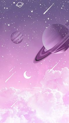 Purple Wallpaper Universe by Gocase purple purple planets planets clouds clouds shooting star Saturn Neptune Jupiter earth trip travel galaxy gocase lovegocase # stars Space Phone Wallpaper, Cute Galaxy Wallpaper, Planets Wallpaper, Kawaii Wallpaper, Cute Wallpaper Backgrounds, Wallpaper Iphone Cute, Pretty Wallpapers, Pink Wallpaper, Nature Wallpaper
