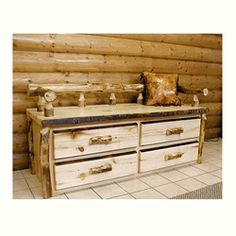We carry this Aspen Creations Log Sitting Chest, and other fine American-made rustic furniture and décor.