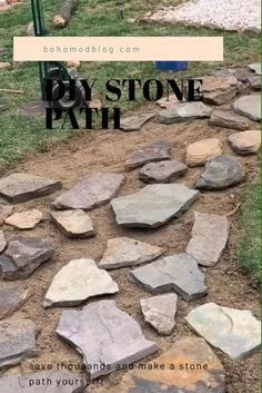 How to make a cute stone path for free! #diy #stonepath #diystonepath #landscapingideas #diylandscaping Landscaping With Rocks, Outdoor Landscaping, Front Yard Landscaping, Outdoor Gardens, Stone Landscaping, Stone Garden Paths, Garden Stepping Stones, Stone Pathways, Stone Walkway