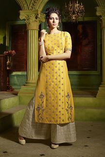 o of Dreamy yellow designer suit with pantsBook order or inquiry now call or whatsapp : ( ) 8866444471 smore fashion amaze launch rayon long kurti with designer jacket collection wholesalerAishwarya leading Online Sarees and Salwar Kameez Store for b Salwar Designs, Kurti Designs Party Wear, Blouse Designs, Latest Salwar Suit Designs, Designs Of Suits, Party Wear Indian Dresses, Pakistani Dresses, Indian Outfits, Designer Salwar Kameez
