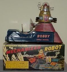 """vintage space toy """"Robby the Robot"""". Vintage Robots, Retro Robot, Vintage Toys, Metal Toys, Tin Toys, Cool Robots, Cool Toys, Robby The Robot, Arte Robot"""