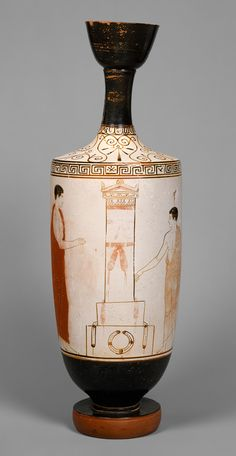Lekythos (oil flask), ca. 440 B.C.; white ground  Attributed to the Achilles Painter  Greek, Attic  Terracotta