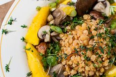 Red lentil salad with oyster mushrooms & fried mango