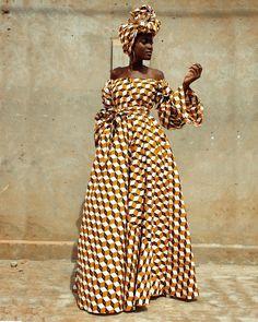 Shade of beige dress by bazarapagne - Long dresses - Afrikrea African Wedding Dress, Latest African Fashion Dresses, African Dresses For Women, African Clothes, Beige Dresses, Long Dresses, Dress Long, Ankara Maxi Dress, Ankara Gowns