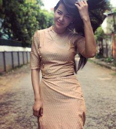 Ma Aye Thaung in Myanmar Beautiful Dress Myanmar Traditional Dress, Traditional Dresses, Myanmar Dress Design, Myanmar Women, Beauty Full Girl, Beautiful Asian Girls, Asian Beauty, Korean Fashion, Designer Dresses