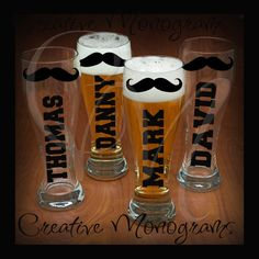 Groom Bestman Groomsman Mustache Pilsner Beer by CreativeMonograms, $4.00