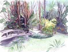 Le jardin anglais et l'île - Peinture,  30x20 cm ©2011 par Catherine Rossi -            Alger, jardin d'Essai du Hamma, jardin anglais