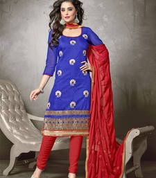 Buy Blue embroidered chanderi cotton unstitched salwar with dupatta dress-material online