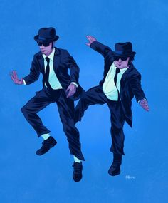 """Australian illustrator Dave Collinson created this fun series of illustrations featuring famous leads in """"buddy"""" films, including characters such as The Blues Brothers, Marty Mcfly… Breaking Bad, Pulp Fiction, Chris Tucker, Marty Mcfly, Jackie Chan, Cultura Pop, Hora Do Rush, Blues Brothers Movie, Blues Brothers Costume"""