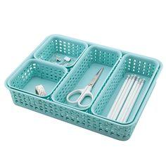 See Jane Work Plastic Weave Bins Blue Pack Of 5 by Office Depot & OfficeMax $9.95