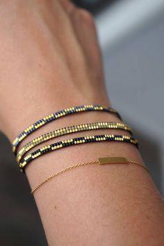 Handmade Miyuki dainty beaded bracelet - Lobster clasp - Friendship bracelet - Tiny bracelet - Delicate bracelet - Armcandy - Armparty - Newest Jewelry Models Bead Loom Patterns, Bracelet Patterns, Beading Patterns, Bracelet Designs, Jewelry Patterns, Bead Loom Bracelets, Woven Bracelets, Ankle Bracelets, Peyote Bracelet