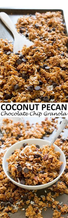 This Homemade, 5 Ingredient Coconut Pecan Chocolate Chip Granola is perfect for a snack, breakfast or sprinkled over yogurt! However you eat it, it is sure to be delicious. Snack Recipes, Dessert Recipes, Cooking Recipes, Freezer Recipes, Freezer Cooking, Drink Recipes, Cooking Tips, Breakfast Recipes, Healthy Recipes
